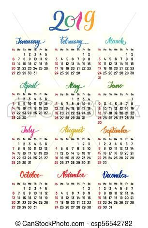 plain wall calendar year lettering flat simple annual chart