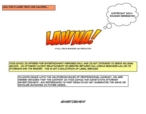 page disclaimer lawna the comic book circle business