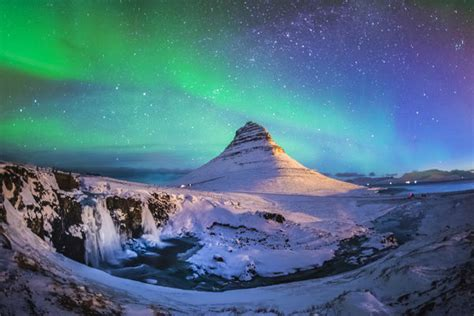 Northern Lights At Mount Kirkjufell Iceland Aurora Over