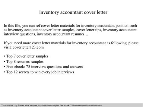 Inventory Cover Letter by Inventory Accountant Cover Letter