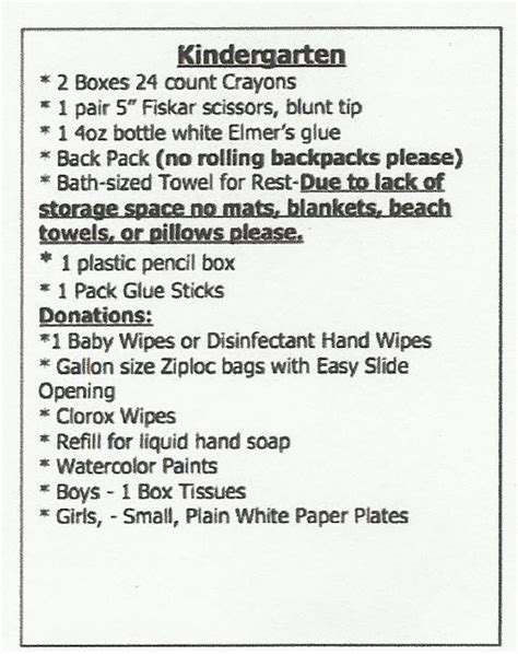 school supply list for preschool kindergarten supplies edge elementary school 744