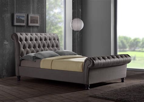 Grey Fabric Bed With Mattress by Details About Chesterfield Sleigh Grey Fabric 5ft