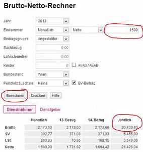Netto Lohn Berechnen : der gehaltsrechner 2016 2017 f r sterreich ~ Themetempest.com Abrechnung