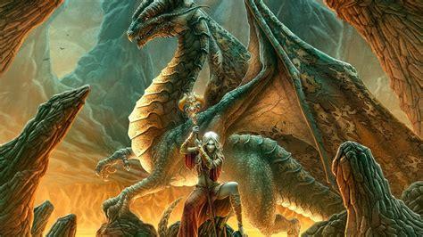 women dragons fantasy art elves artwork