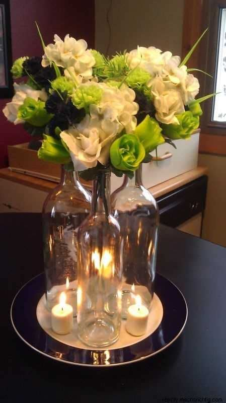 using wine bottles as centerpieces clear glass wine