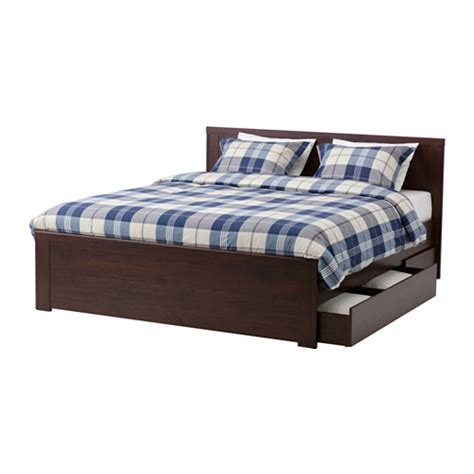 brusali bed frame with 4 storage boxes brown lur 246 y