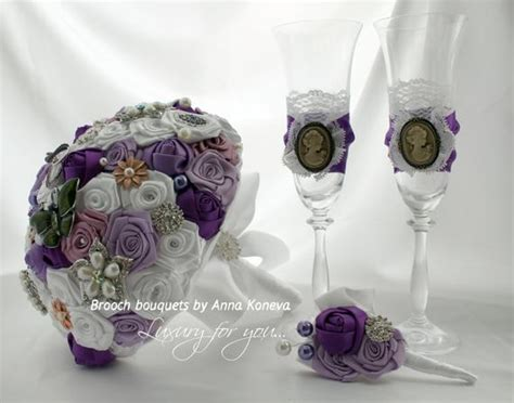 Vintage Champagne Glasses Purple Wedding Glasses Lase Wedding
