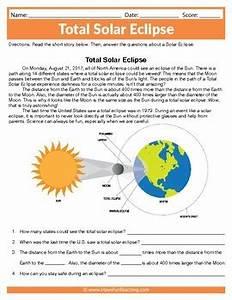 2017 Total Solar Eclipse Worksheet Solar Eclipse Reading ...