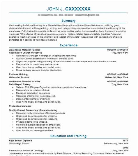Sle Resume For Material Handler by Warehouse Material Handler Objectives Resume Objective