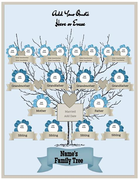 generation family tree template   customize print