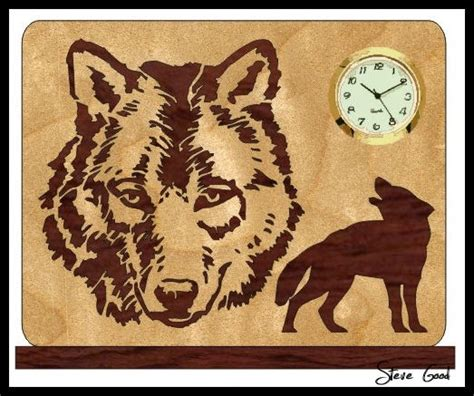 scrollsaw workshop wolf mini clock scroll  pattern