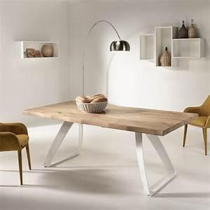 Table à Manger Bois Et Métal : table manger extensible paul en bois plaqu de ch ne et m tal ~ Teatrodelosmanantiales.com Idées de Décoration