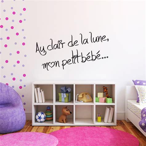 sticker phrase pour chambre d 39 enfant au clair de la lune