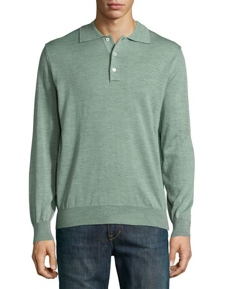 sleeve sweater mens robert talbott sleeve polo sweater in green for