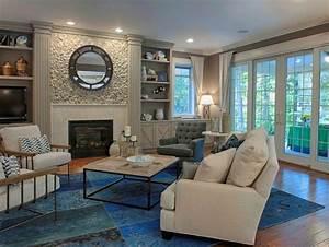 tapis patchwork vintage et tapis cuir en 50 idees tendance With tapis peau de vache avec canapé d angle bleu pétrole