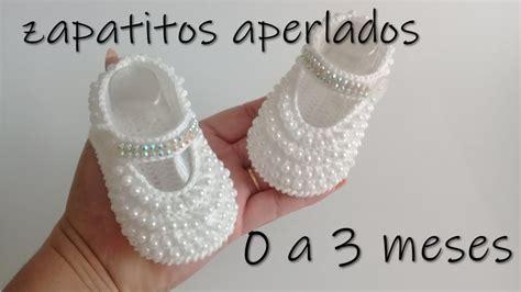 zapatitos aperlados para bebe a crochet 0 a 3 meses YouTube