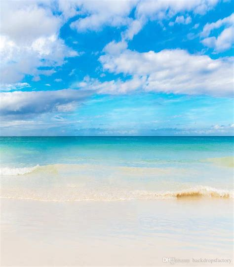 2019 Blue Sky White Clouds Beach Photography Backdrop
