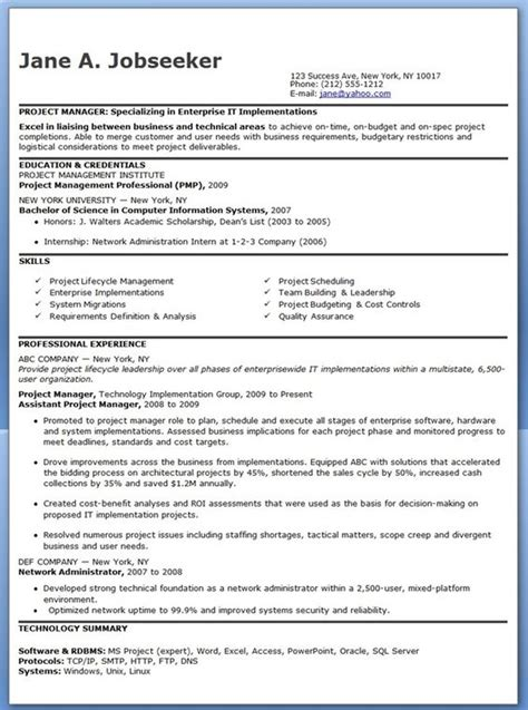 Summary For Project Manager by Entry Level It Project Manager Resume Creative Resume