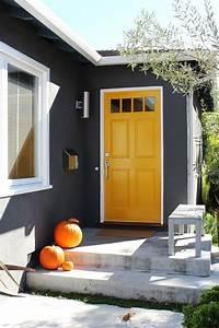 48, Best, Grey, House, Yellow, Door, Ideas