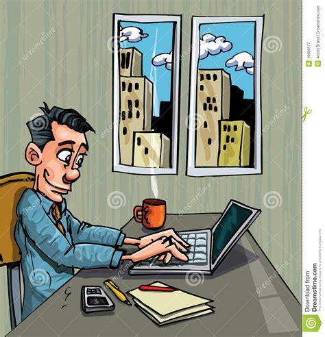 employe de bureau employé de bureau de dessin animé occupé sur