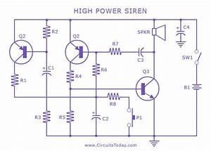 Security Alarm Circuit With High Power Siren