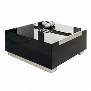 Table Bois Et Noir : table basse noire en verre et bois laqu ~ Dailycaller-alerts.com Idées de Décoration