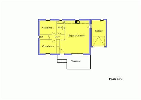 plan maison plain pied 2 chambres villa sur plan modèle amaryllis 70 m2 à construire dans