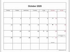 October 2020 Calendar Printable with Bank Holidays UK