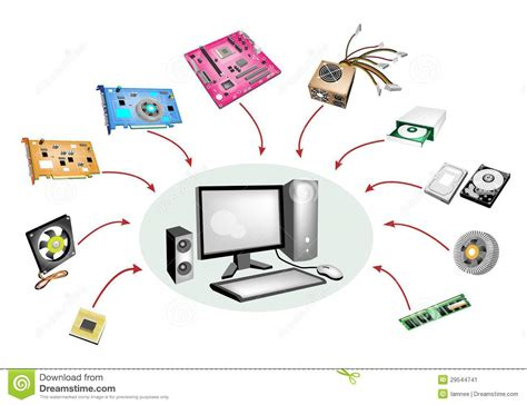 ensemble color 233 d illustration de syst 232 me informatique d ordinateur de bureau image stock