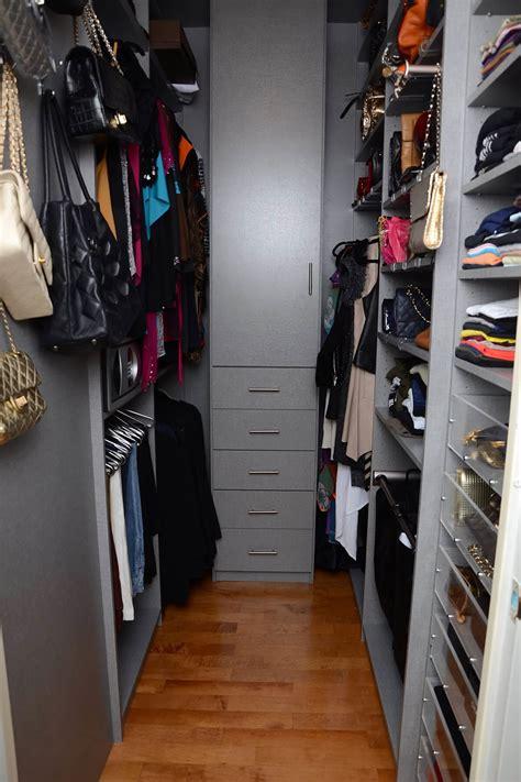 walk in closet organizers gray melamine system transforms this narrow walk in closet Narrow