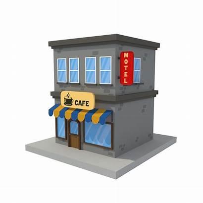 Cartoon Building Cafe Poly Motel Low 3docean