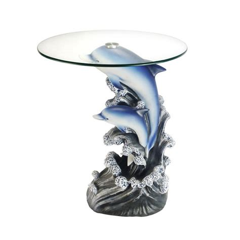 The base of the table is made using a lost wax casting process that. Shop Glass-top 24-inch Dolphin End Table - Free Shipping Today - Overstock.com - 12650717