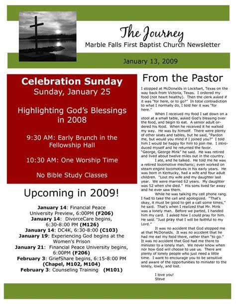 church newsletter sampels marble falls  baptist