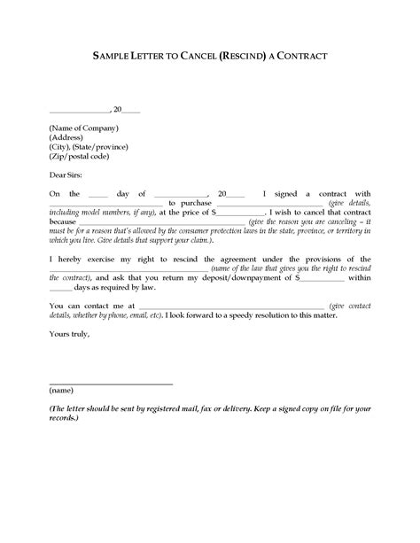 letter  rescind cancel  contract legal forms
