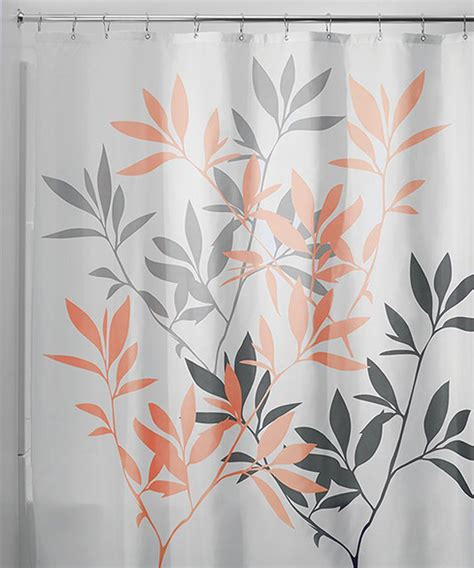 gray coral leaves shower curtain modern shower