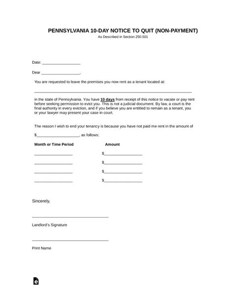 pennsylvania  day notice  quit form  payment