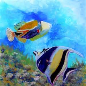 Tropical Fish Acrylic Paintings