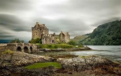 Scotland Donan Eilean Bridge Clouds Desktop Wallpapers