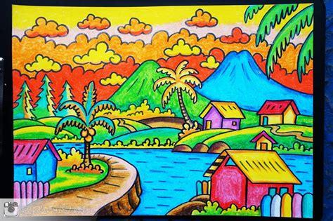 lukisan  crayon  pastel lukisan  menggunakan crayon pastel karya syahrul