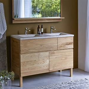 meuble en chne et vasques rsine easy duo vente meubles With meuble salle de bain 120 bois