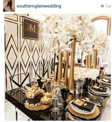gold decor dramatic art deco inspired tablescape with black and gold accents tablescapes settings