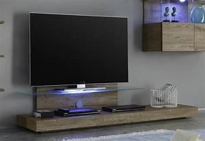 Meuble Sous Tv Suspendu : ensemble meuble tv ch ne et blanc laqu eclairage led en option ~ Teatrodelosmanantiales.com Idées de Décoration