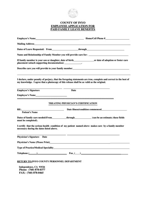 paid family leave claim form paid family leave claim form inyo county printable pdf