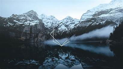 Polyscape Mountains Geometry Digital Wallpapers Water 1080p