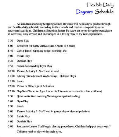 preschool daily schedules daycare schedule template 7 free word pdf format 437