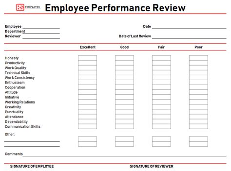 employee performance review template appraisal samples