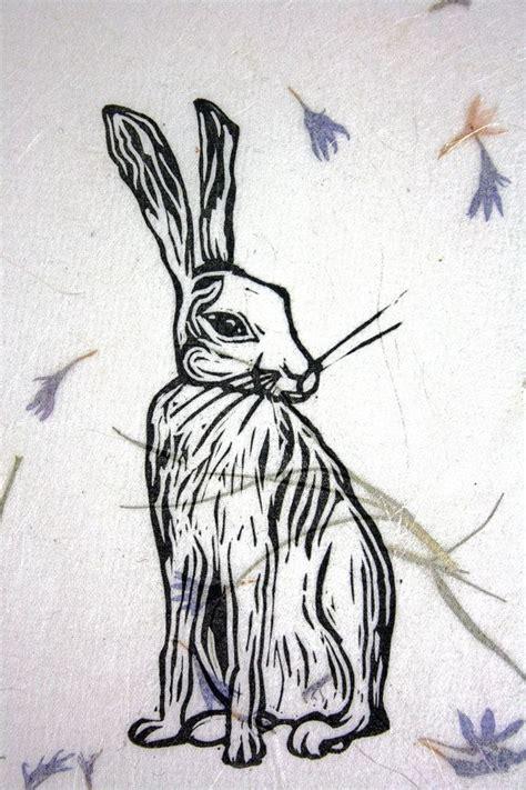 linocut hare print block printed wall art