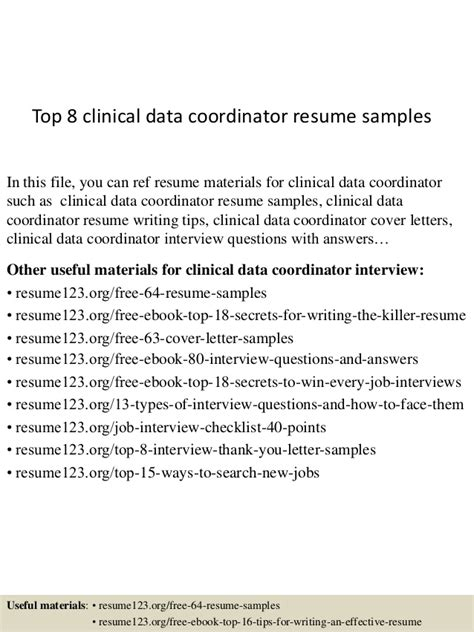 Clinical Data Manager Resume by Top 8 Clinical Data Coordinator Resume Sles