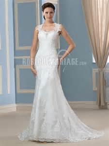 robe mariage dentelle col en coeur robe de mariée avec bretelle en dentelle dos nu pas cher robe2012602