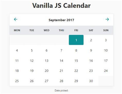 datepicker html template minimal inline calendar date picker in vanilla javascript
